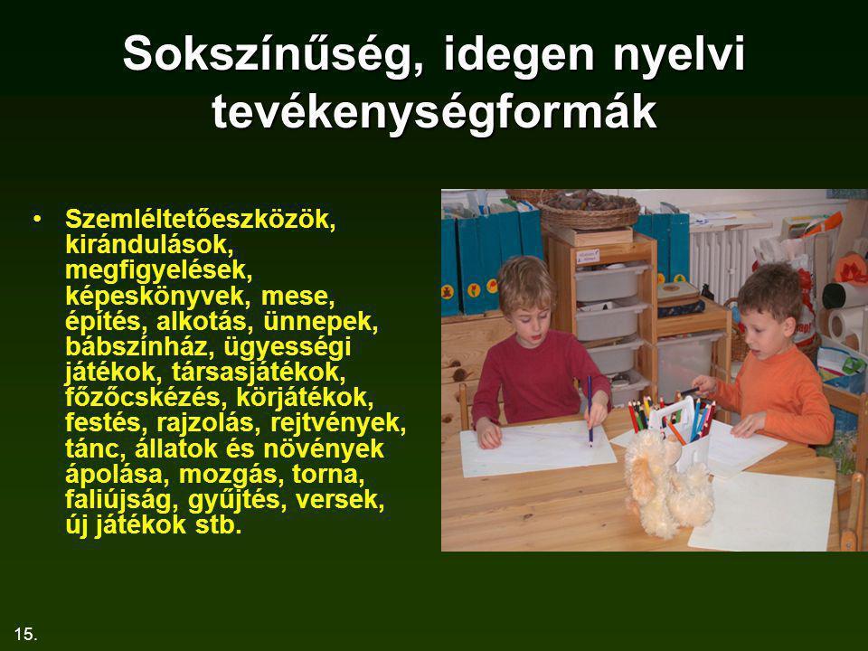 15. Sokszínűség, idegen nyelvi tevékenységformák Szemléltetőeszközök, kirándulások, megfigyelések, képeskönyvek, mese, építés, alkotás, ünnepek, bábsz