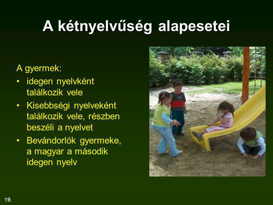 19. A kétnyelvűség alapesetei A gyermek: idegen nyelvként találkozik vele Kisebbségi nyelveként találkozik vele, részben beszéli a nyelvet Bevándorlók