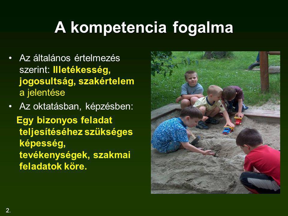 2. A kompetencia fogalma Az általános értelmezés szerint: Illetékesség, jogosultság, szakértelem a jelentése Az oktatásban, képzésben: Egy bizonyos fe