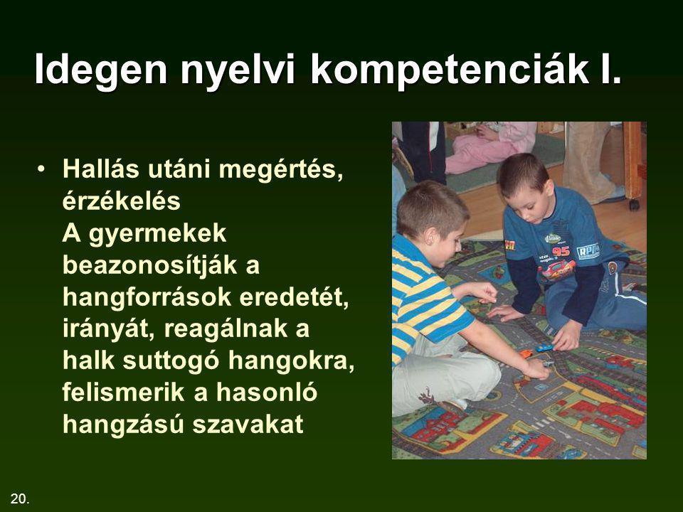 20. Idegen nyelvi kompetenciák I. Hallás utáni megértés, érzékelés A gyermekek beazonosítják a hangforrások eredetét, irányát, reagálnak a halk suttog