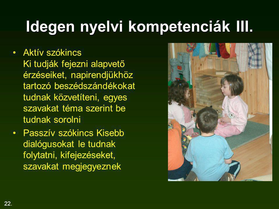 22. Idegen nyelvi kompetenciák III. Aktív szókincs Ki tudják fejezni alapvető érzéseiket, napirendjükhöz tartozó beszédszándékokat tudnak közvetíteni,
