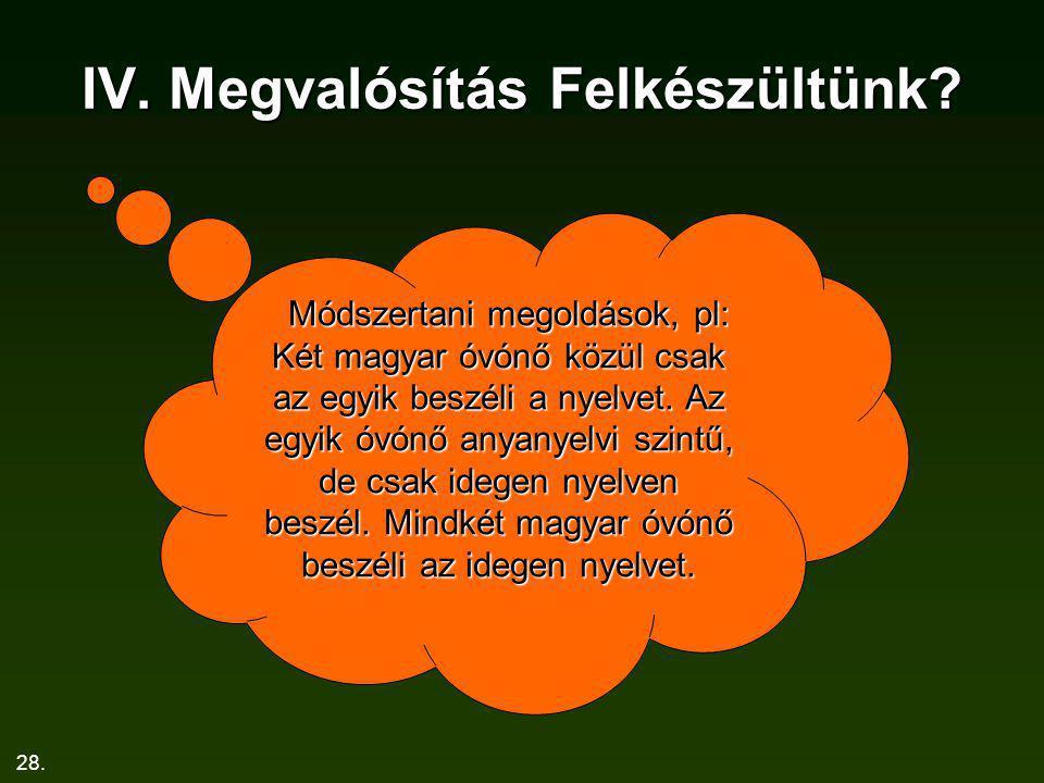 28. IV. Megvalósítás Felkészültünk? Módszertani megoldások, pl: Két magyar óvónő közül csak az egyik beszéli a nyelvet. Az egyik óvónő anyanyelvi szin