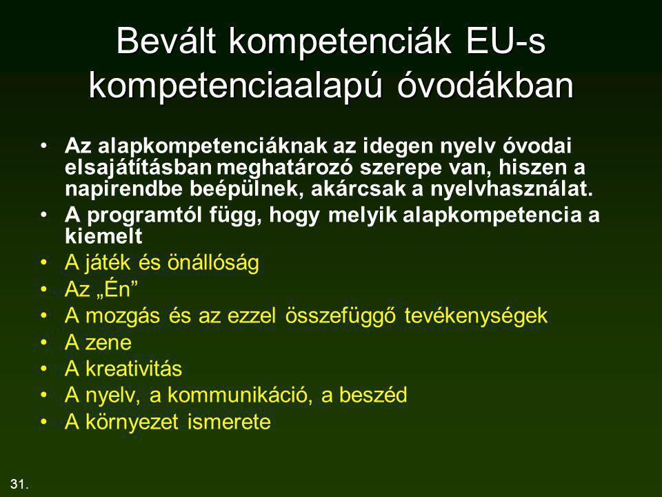 31. Bevált kompetenciák EU-s kompetenciaalapú óvodákban Az alapkompetenciáknak az idegen nyelv óvodai elsajátításban meghatározó szerepe van, hiszen a