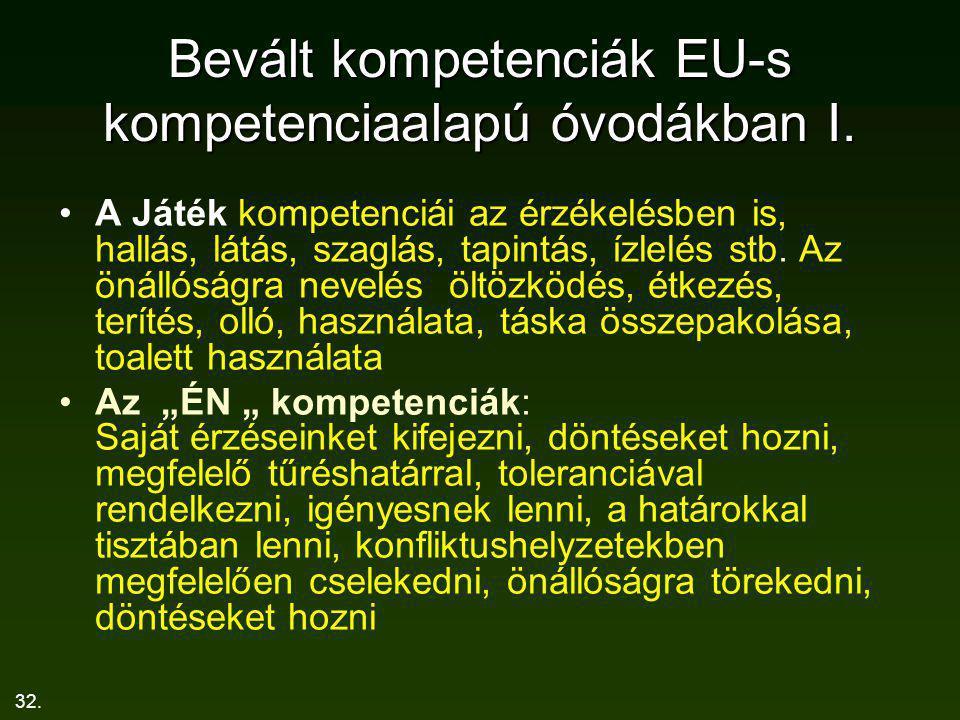 32. Bevált kompetenciák EU-s kompetenciaalapú óvodákban I. A Játék kompetenciái az érzékelésben is, hallás, látás, szaglás, tapintás, ízlelés stb. Az
