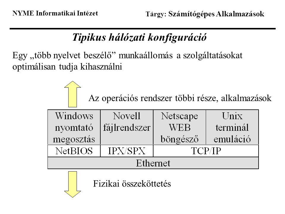 """NYME Informatikai Intézet Tárgy: Számítógépes Alkalmazások Tipikus hálózati konfiguráció Egy """"több nyelvet beszélő"""" munkaállomás a szolgáltatásokat op"""