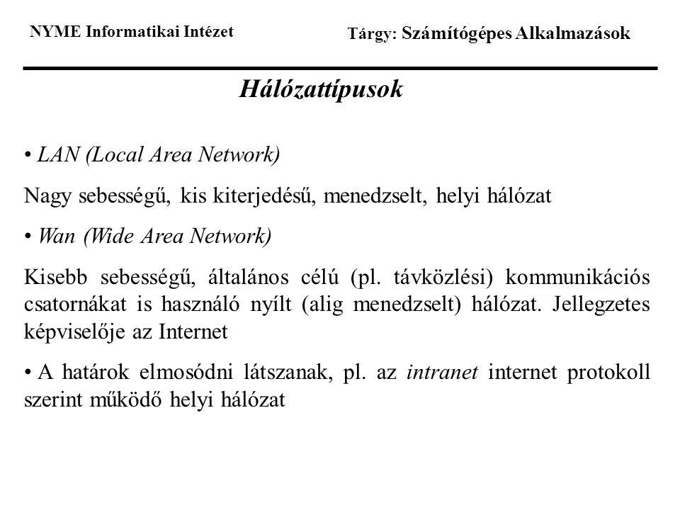 NYME Informatikai Intézet Tárgy: Számítógépes Alkalmazások Hálózattípusok LAN (Local Area Network) Nagy sebességű, kis kiterjedésű, menedzselt, helyi