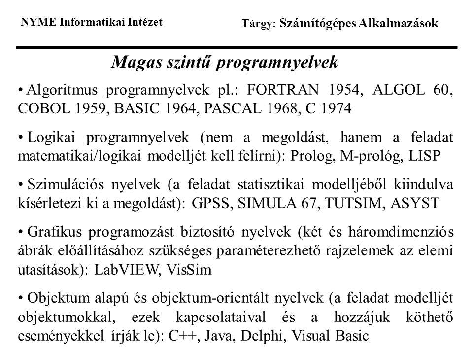 NYME Informatikai Intézet Tárgy: Számítógépes Alkalmazások Magas szintű programnyelvek Algoritmus programnyelvek pl.: FORTRAN 1954, ALGOL 60, COBOL 19
