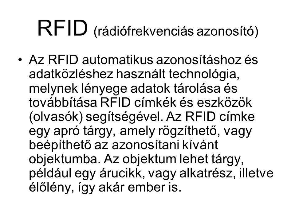 RFID (rádiófrekvenciás azonosító) Az RFID automatikus azonosításhoz és adatközléshez használt technológia, melynek lényege adatok tárolása és továbbítása RFID címkék és eszközök (olvasók) segítségével.