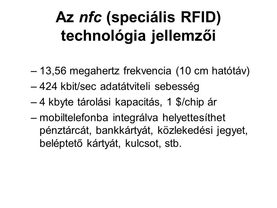 Az nfc (speciális RFID) technológia jellemzői –13,56 megahertz frekvencia (10 cm hatótáv) –424 kbit/sec adatátviteli sebesség –4 kbyte tárolási kapacitás, 1 $/chip ár –mobiltelefonba integrálva helyettesíthet pénztárcát, bankkártyát, közlekedési jegyet, beléptető kártyát, kulcsot, stb.