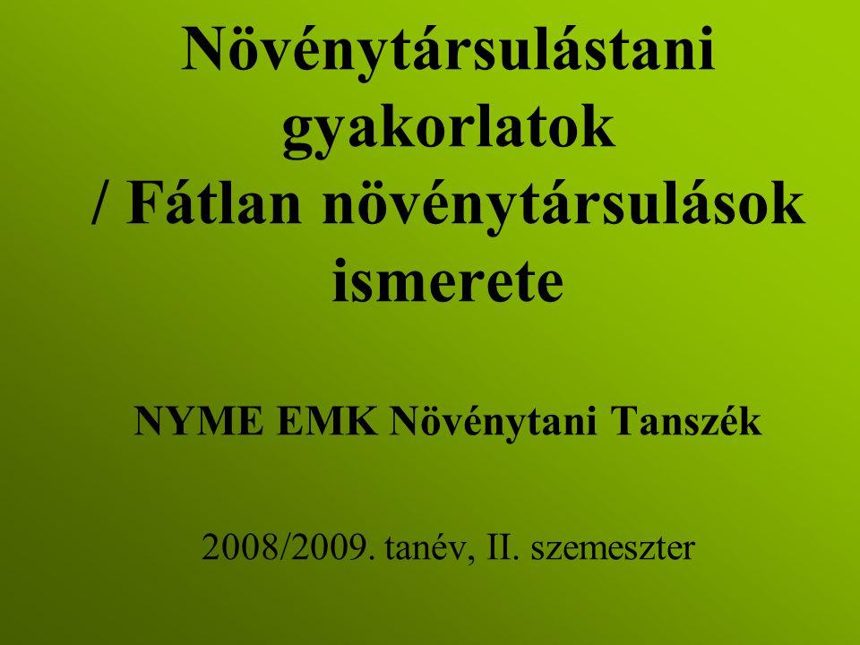 Növénytársulástani gyakorlatok / Fátlan növénytársulások ismerete NYME EMK Növénytani Tanszék 2008/2009. tanév, II. szemeszter