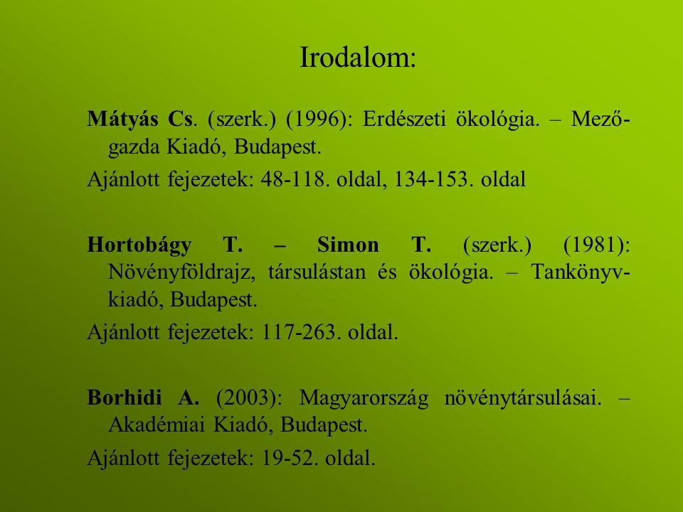 Irodalom: Mátyás Cs. (szerk.) (1996): Erdészeti ökológia. – Mező- gazda Kiadó, Budapest. Ajánlott fejezetek: 48-118. oldal, 134-153. oldal Hortobágy T