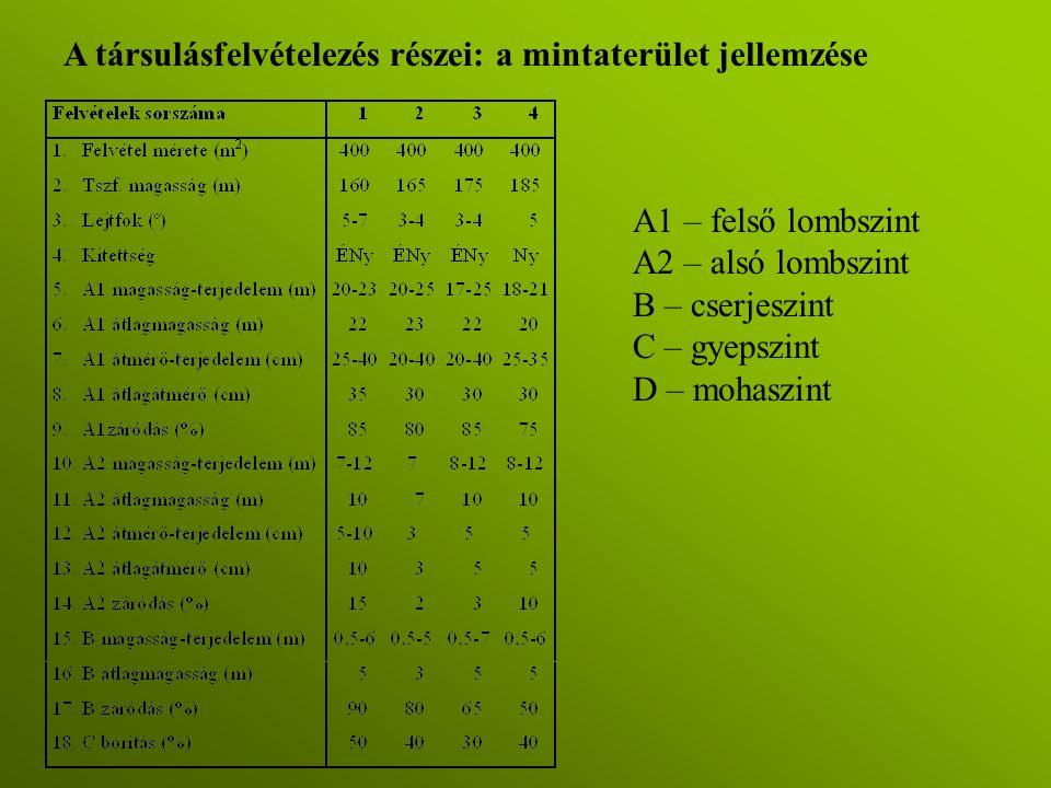 A1 – felső lombszint A2 – alsó lombszint B – cserjeszint C – gyepszint D – mohaszint A társulásfelvételezés részei: a mintaterület jellemzése