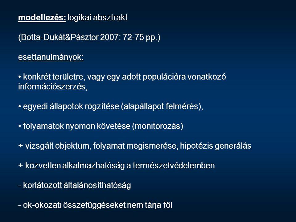 modellezés: logikai absztrakt (Botta-Dukát&Pásztor 2007: 72-75 pp.) esettanulmányok: konkrét területre, vagy egy adott populációra vonatkozó informáci