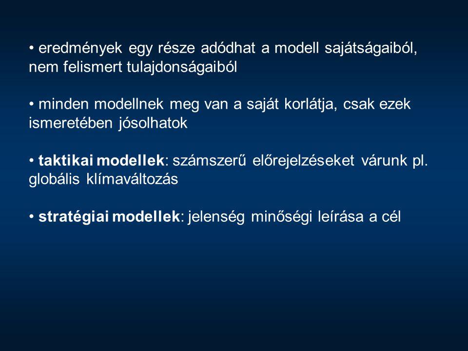 eredmények egy része adódhat a modell sajátságaiból, nem felismert tulajdonságaiból minden modellnek meg van a saját korlátja, csak ezek ismeretében j