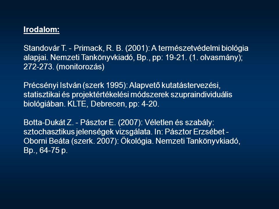 Irodalom: Standovár T. - Primack, R. B. (2001): A természetvédelmi biológia alapjai. Nemzeti Tankönyvkiadó, Bp., pp: 19-21. (1. olvasmány); 272-273. (