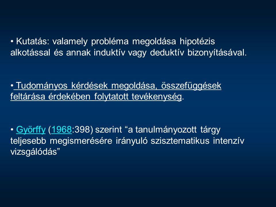 Folsont szerint A kutatás az ismeretlen vizsgálata. Kecső (1980:12-13) szavaival: a tudományos általánosítás módszereit alkalmazó tudatos ismeretgyarapitási tevékenység — illetve — az ismeretlen megismerésére irányuló tudatos törekvés. http://physics2.kee.hu/__Fizika/KutatasModszertan/book/ p0040.htmKecső1980 http://physics2.kee.hu/__Fizika/KutatasModszertan/book/ p0040.htm Miért is kell kutatnunk.