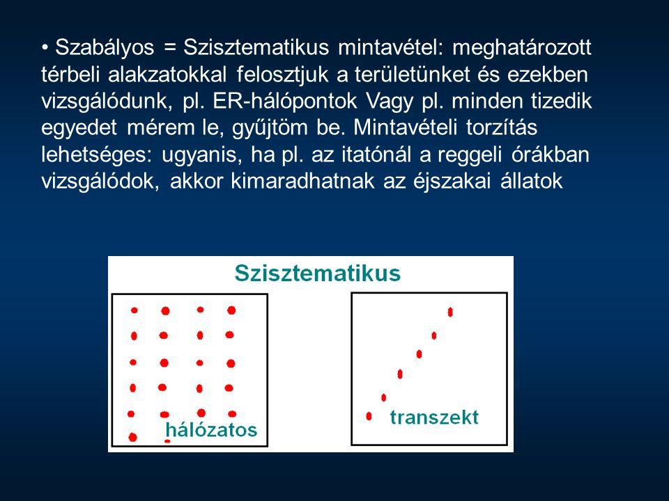 Szabályos = Szisztematikus mintavétel: meghatározott térbeli alakzatokkal felosztjuk a területünket és ezekben vizsgálódunk, pl. ER-hálópontok Vagy pl