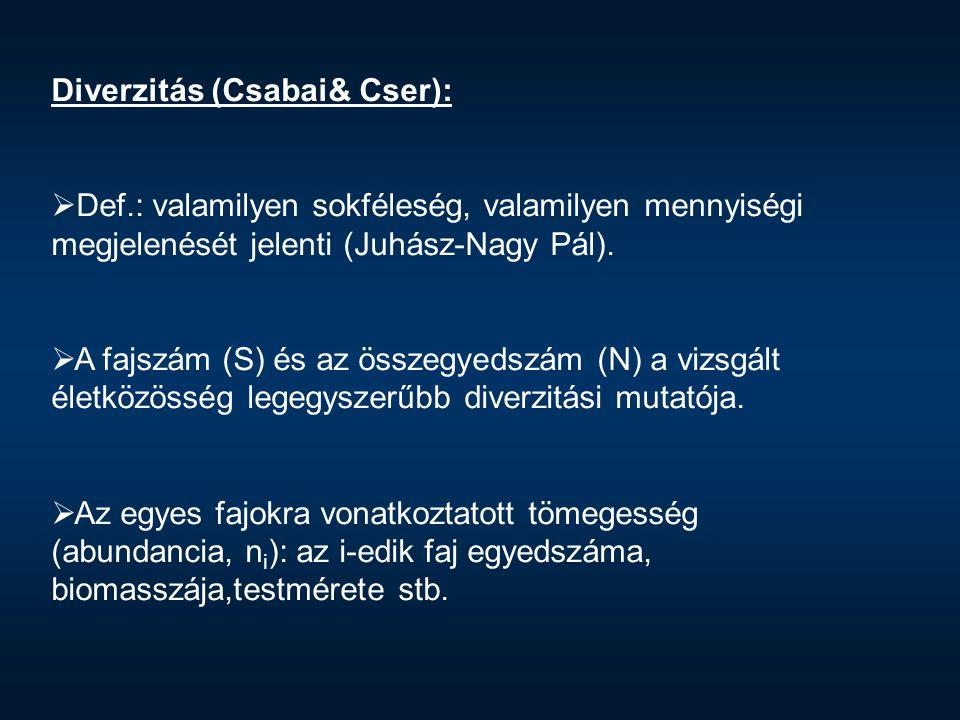 Diverzitás (Csabai& Cser):  Def.: valamilyen sokféleség, valamilyen mennyiségi megjelenését jelenti (Juhász-Nagy Pál).  A fajszám (S) és az összegye