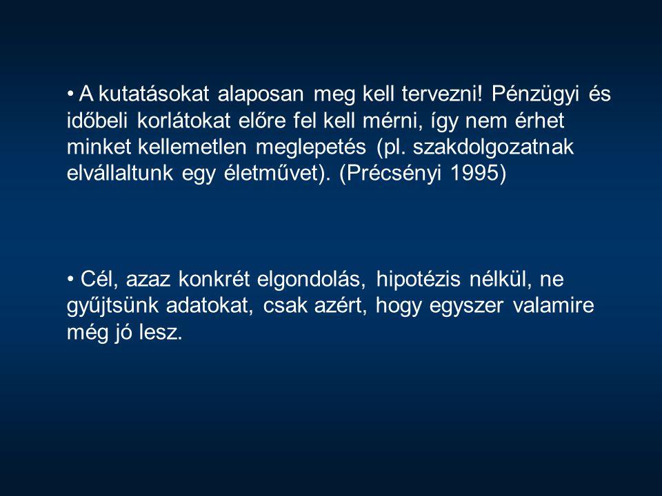 Kutatástervezés (Précsényi 1995): A kutatás lépései: szorosan összefüggenek egymással és visszacsatolnak.