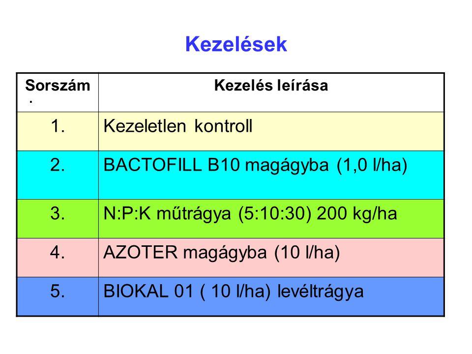 Kezelések. SorszámKezelés leírása 1.Kezeletlen kontroll 2.BACTOFILL B10 magágyba (1,0 l/ha) 3.N:P:K műtrágya (5:10:30) 200 kg/ha 4.AZOTER magágyba (10
