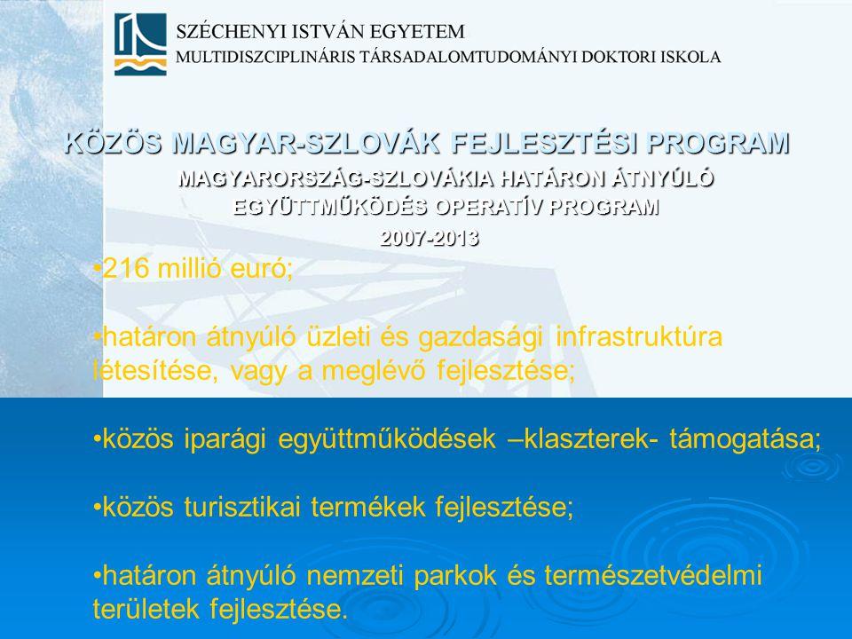 KÖZÖS MAGYAR-SZLOVÁK FEJLESZTÉSI PROGRAM MAGYARORSZÁG-SZLOVÁKIA HATÁRON ÁTNYÚLÓ EGYÜTTMŰKÖDÉS OPERATÍV PROGRAM 2007-2013 216 millió euró; határon átny