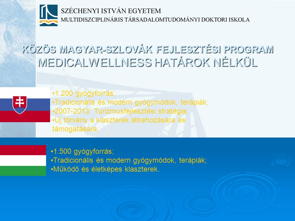 KÖZÖS MAGYAR-SZLOVÁK FEJLESZTÉSI PROGRAM MEDICALWELLNESS HATÁROK NÉLKÜL 1.200 gyógyforrás; Tradicionális és modern gyógymódok, terápiák; 2007-2013: Tu