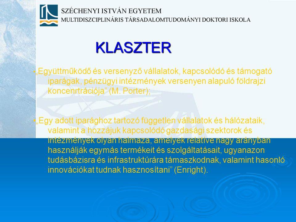"""KLASZTER """" Együttműködő és versenyző vállalatok, kapcsolódó és támogató iparágak, pénzügyi intézmények versenyen alapuló földrajzi koncenrtrációja"""" (M"""