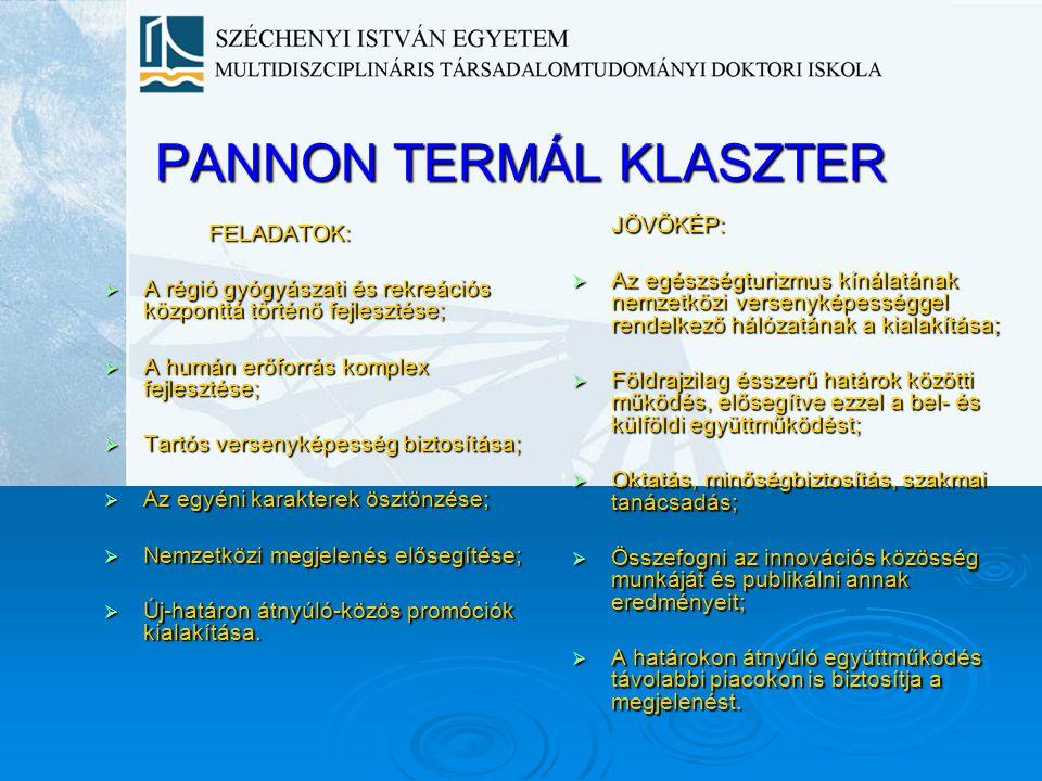 PANNON TERMÁL KLASZTER FELADATOK:  A régió gyógyászati és rekreációs központtá történő fejlesztése;  A humán erőforrás komplex fejlesztése;  Tartós