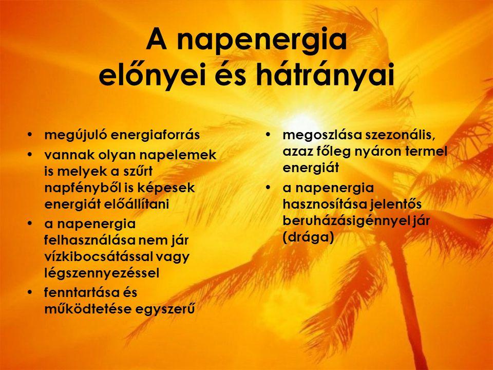 A napenergia előnyei és hátrányai megújuló energiaforrás vannak olyan napelemek is melyek a szűrt napfényből is képesek energiát előállítani a napenergia felhasználása nem jár vízkibocsátással vagy légszennyezéssel fenntartása és működtetése egyszerű megoszlása szezonális, azaz főleg nyáron termel energiát a napenergia hasznosítása jelentős beruházásigénnyel jár (drága)