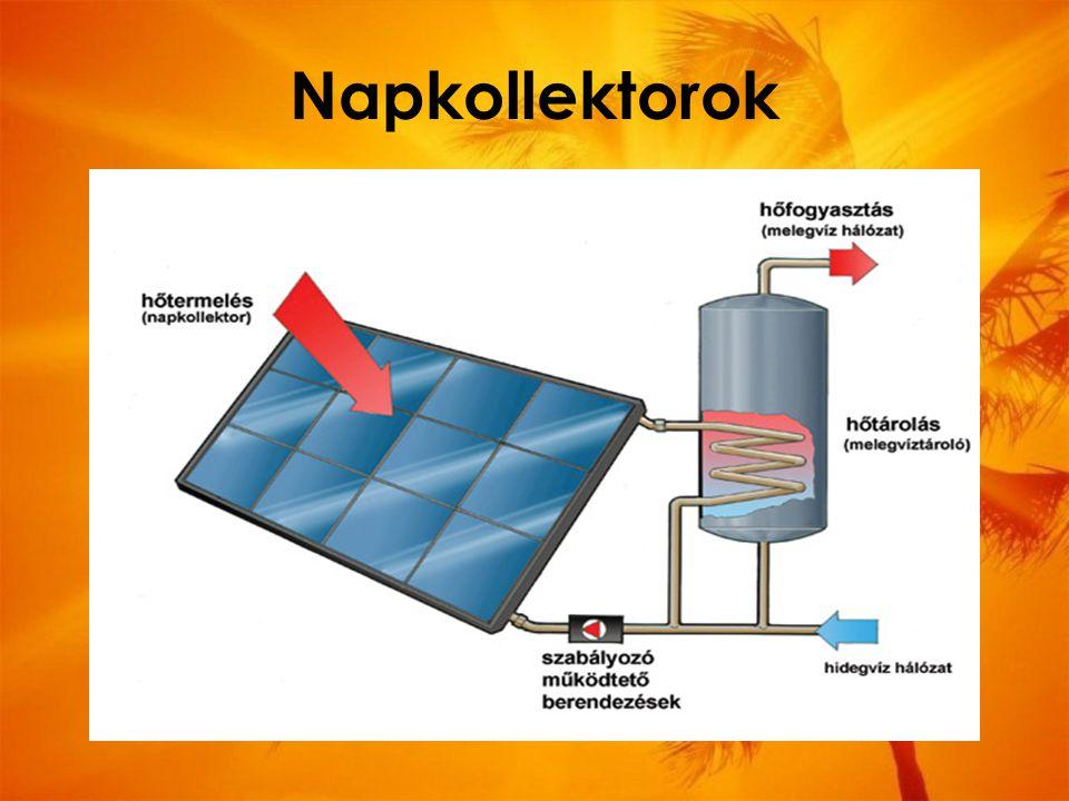 """Napkollektorok olyan berendezés, amely a napenergiából állít elő fűtésre, vízmelegítésre használható hőenergiát hőcserélő közegük rendszerint folyadék vannak olyan napkollektorok, melyek hőcserélő közege levegő – ezeket légkollektoroknak hívjuk kevésbé összetettek mint a """"vizes napkollektorok olcsóbbak, egyszerűbb az előállításuk"""
