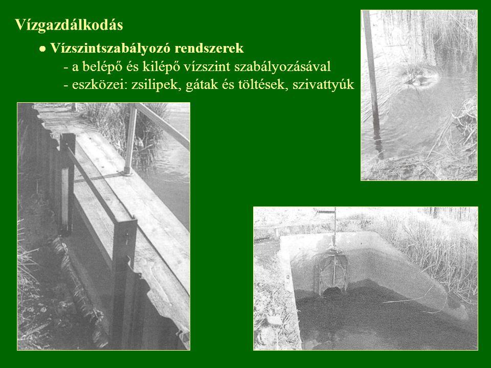Vízgazdálkodás ● Vízszintszabályozó rendszerek - a belépő és kilépő vízszint szabályozásával - eszközei: zsilipek, gátak és töltések, szivattyúk