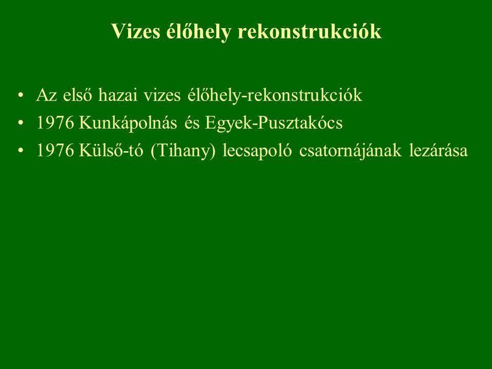 Vizes élőhely rekonstrukciók Az első hazai vizes élőhely-rekonstrukciók 1976 Kunkápolnás és Egyek-Pusztakócs 1976 Külső-tó (Tihany) lecsapoló csatorná