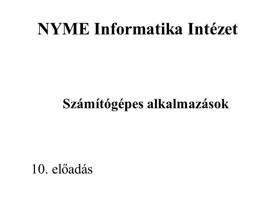 NYME Informatika IntézetTárgy : Számítógépes alkalmazások Tágabb értelemben ide soroljuk a hang- és képi információkat kezelő alkalmazásokat is.