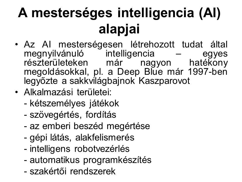 A mesterséges intelligencia (AI) alapjai Az AI mesterségesen létrehozott tudat által megnyilvánuló intelligencia – egyes részterületeken már nagyon ha