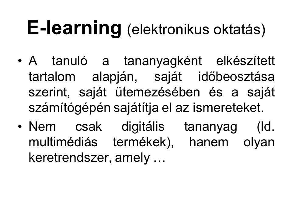 E-learning (elektronikus oktatás) A tanuló a tananyagként elkészített tartalom alapján, saját időbeosztása szerint, saját ütemezésében és a saját szám