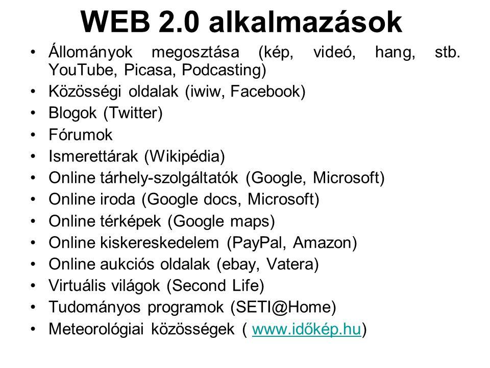 WEB 2.0 alkalmazások Állományok megosztása (kép, videó, hang, stb. YouTube, Picasa, Podcasting) Közösségi oldalak (iwiw, Facebook) Blogok (Twitter) Fó