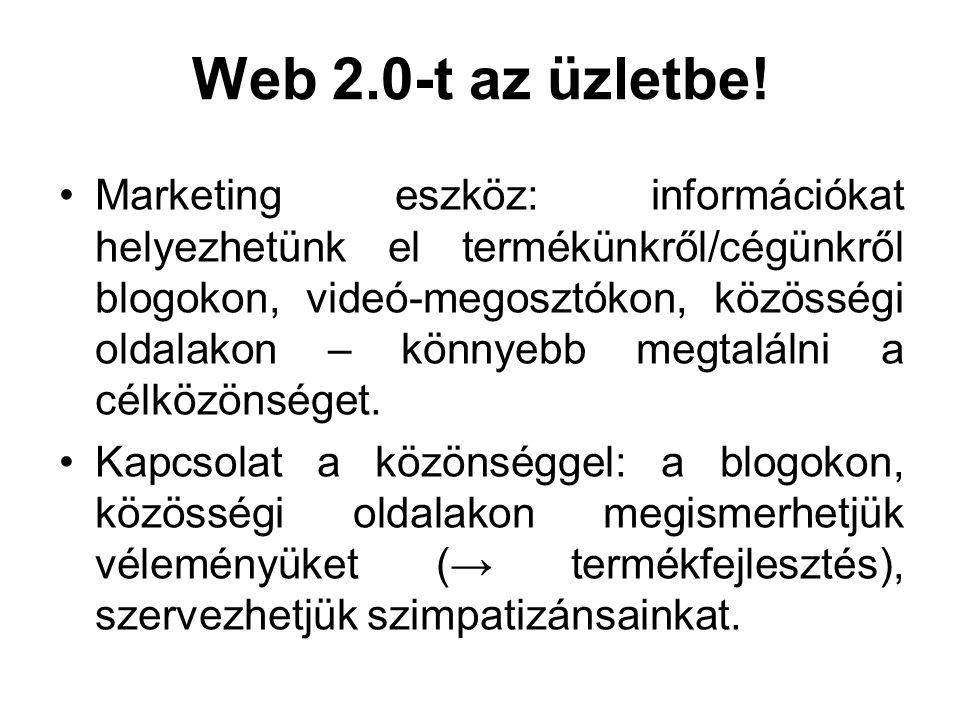 Web 2.0-t az üzletbe! Marketing eszköz: információkat helyezhetünk el termékünkről/cégünkről blogokon, videó-megosztókon, közösségi oldalakon – könnye