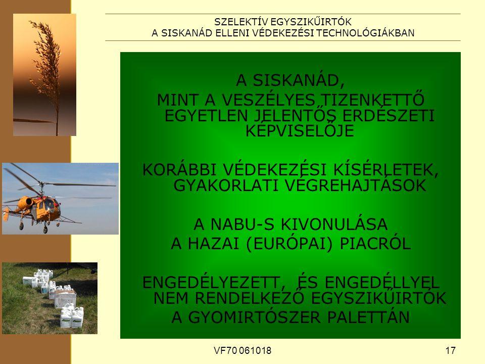 VF70 06101817 SZELEKTÍV EGYSZIKŰIRTÓK A SISKANÁD ELLENI VÉDEKEZÉSI TECHNOLÓGIÁKBAN A SISKANÁD, MINT A VESZÉLYES TIZENKETTŐ EGYETLEN JELENTŐS ERDÉSZETI KÉPVISELŐJE KORÁBBI VÉDEKEZÉSI KÍSÉRLETEK, GYAKORLATI VÉGREHAJTÁSOK A NABU-S KIVONULÁSA A HAZAI (EURÓPAI) PIACRÓL ENGEDÉLYEZETT, ÉS ENGEDÉLLYEL NEM RENDELKEZŐ EGYSZIKŰIRTÓK A GYOMIRTÓSZER PALETTÁN