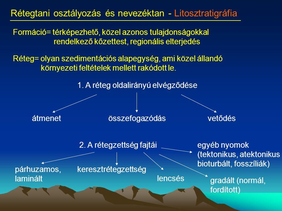 Rétegtani osztályozás és nevezéktan - Litosztratigráfia Formáció= térképezhető, közel azonos tulajdonságokkal rendelkező kőzettest, regionális elterje