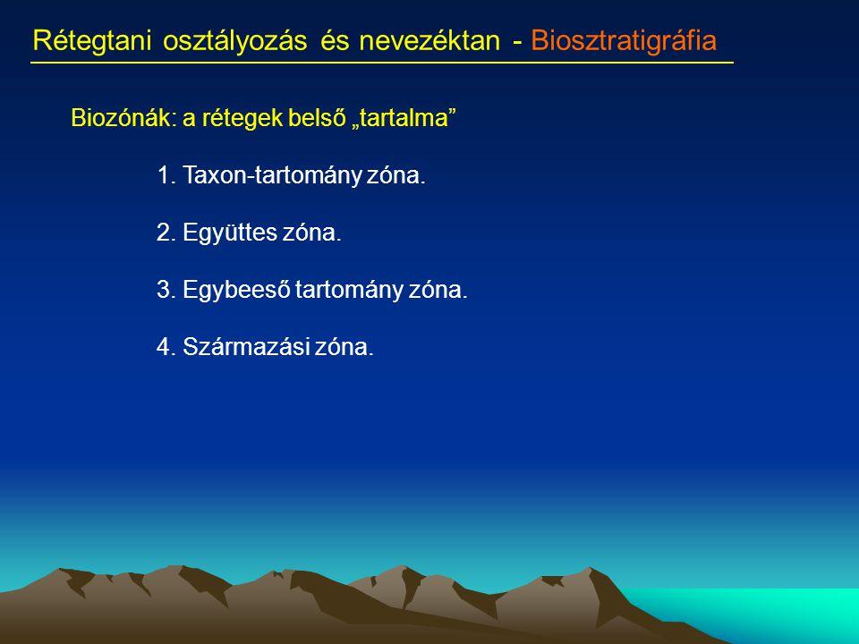 """Rétegtani osztályozás és nevezéktan - Biosztratigráfia Biozónák: a rétegek belső """"tartalma"""" 1. Taxon-tartomány zóna. 2. Együttes zóna. 3. Egybeeső tar"""