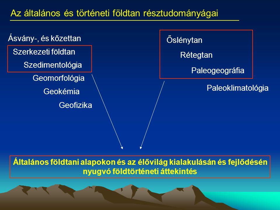 Ásvány-, és kőzettan Szerkezeti földtan Geomorfológia Geokémia Geofizika Az általános és történeti földtan résztudományágai Szedimentológia Őslénytan