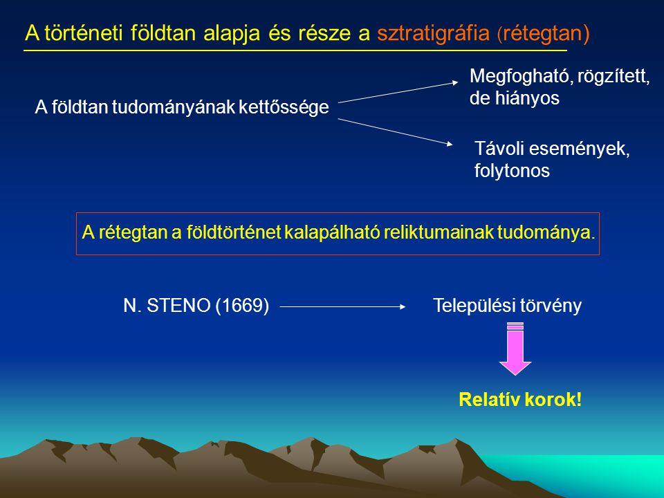A történeti földtan alapja és része a sztratigráfia ( rétegtan) A rétegtan a földtörténet kalapálható reliktumainak tudománya. A földtan tudományának