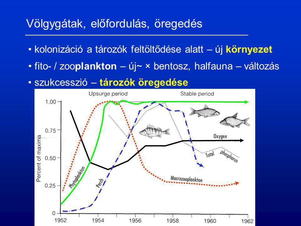 Völgygátak, előfordulás, öregedés kolonizáció a tározók feltöltődése alatt – új környezet fito- / zooplankton – új~ × bentosz, halfauna – változás szu