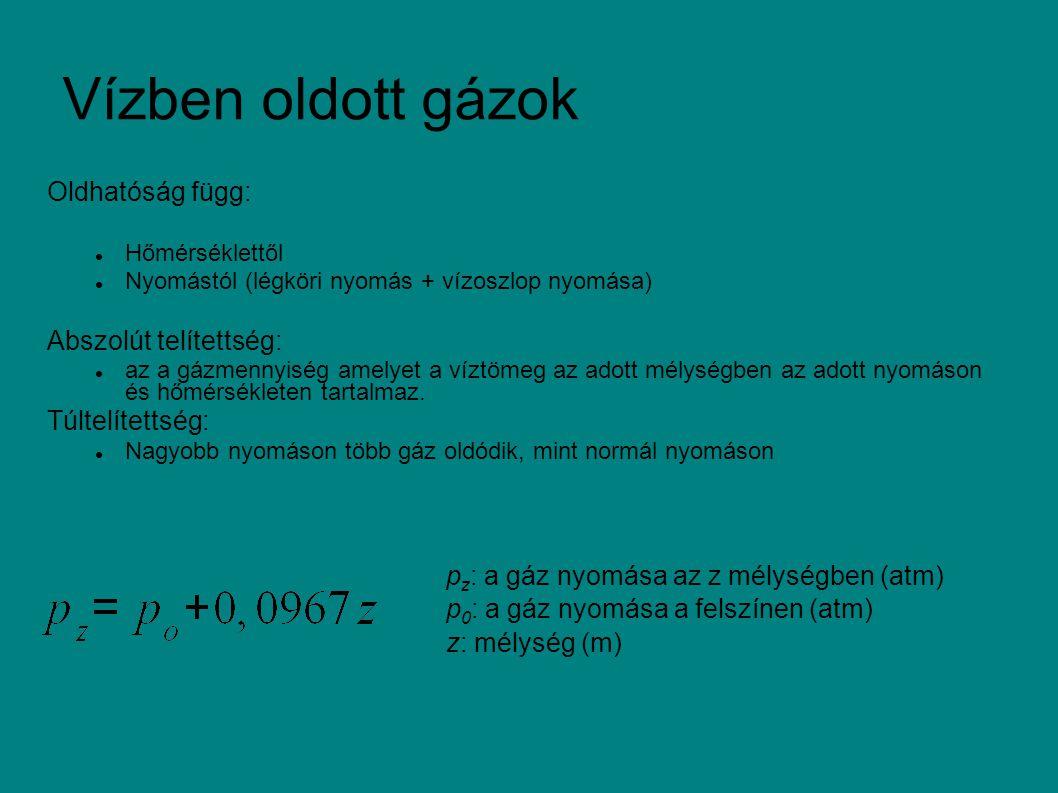 Henry-törvény: valamely gáz telített oldatának töménysége arányos a gáznak a víztér feletti gázelegyben mérhető parciális nyomásával: C s : gáz telítési koncentrációja K s : oldhatósági koefficiens (hőmérséklet függő) p: a gáz nyomása Gázkeverék esetén a gázok a parciális nyomás szerint oldódnak, egymás oldhatóságát nem befolyásolják.