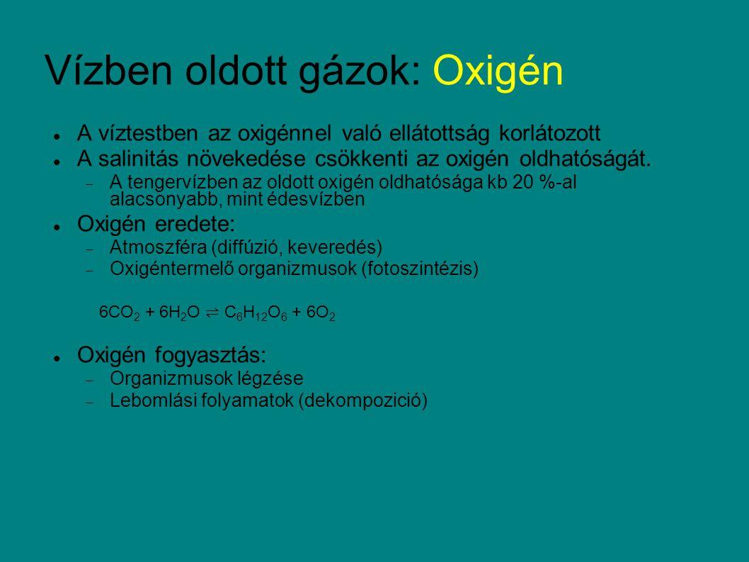 Oxigén koncentráció mérése:  elektróda  colorimetrikus titrálás (Winkler módszer) Mn2+ --> Mn4+ (oxidálás), majd Mn2+ fixálás KI -- redukció --> I 2 mennyisége ≈ O 2 Redox potenciál H 2 O ↔ ½ O 2 + 2 H + + 2 e - Az egyensúly azonban független az O 2 koncentrációjától, vagy telítettségétől pH nagyban befolyásolja a redoxpotencált Vízben oldott gázok: Oxigén