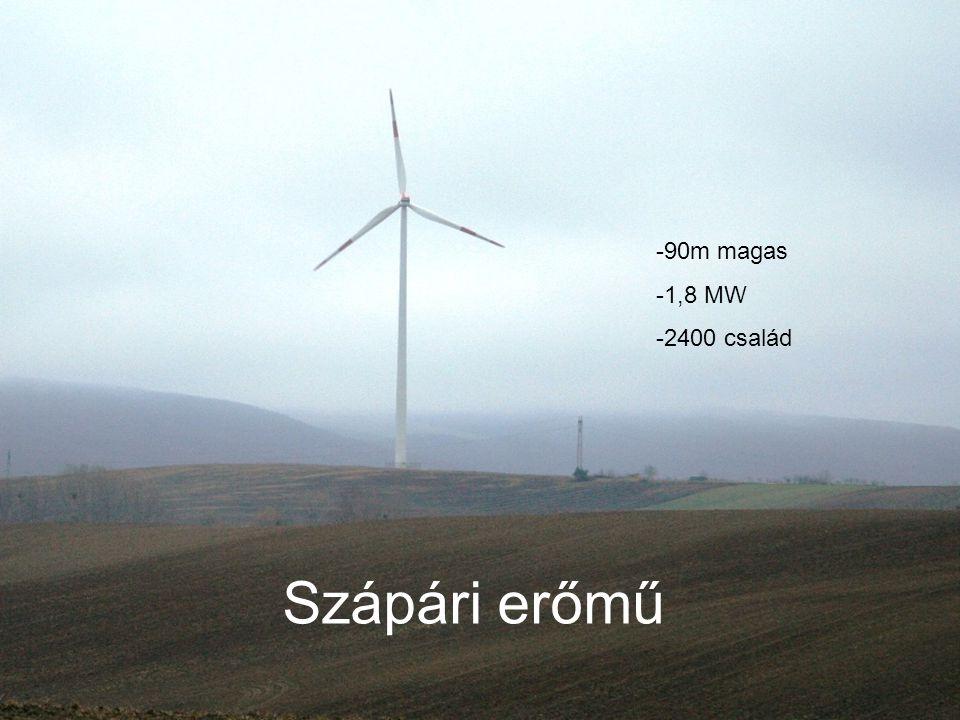 Szápári erőmű -90m magas -1,8 MW -2400 család