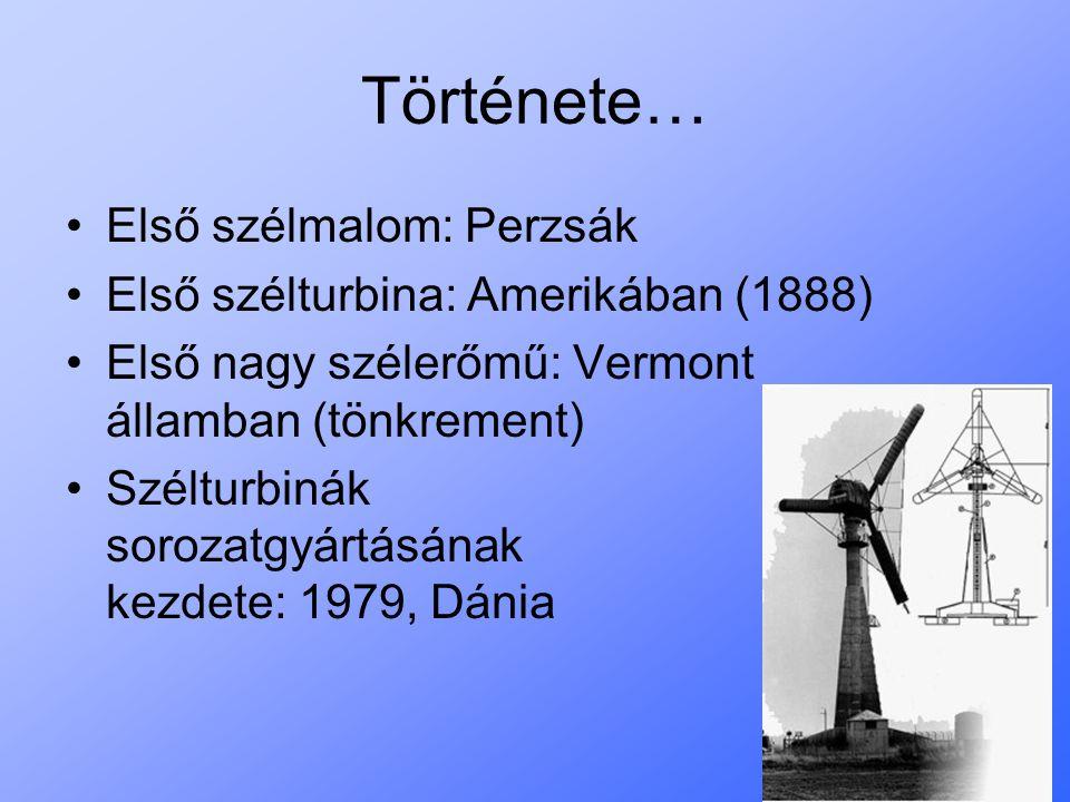 Története… Első szélmalom: Perzsák Első szélturbina: Amerikában (1888) Első nagy szélerőmű: Vermont államban (tönkrement) Szélturbinák sorozatgyártásá