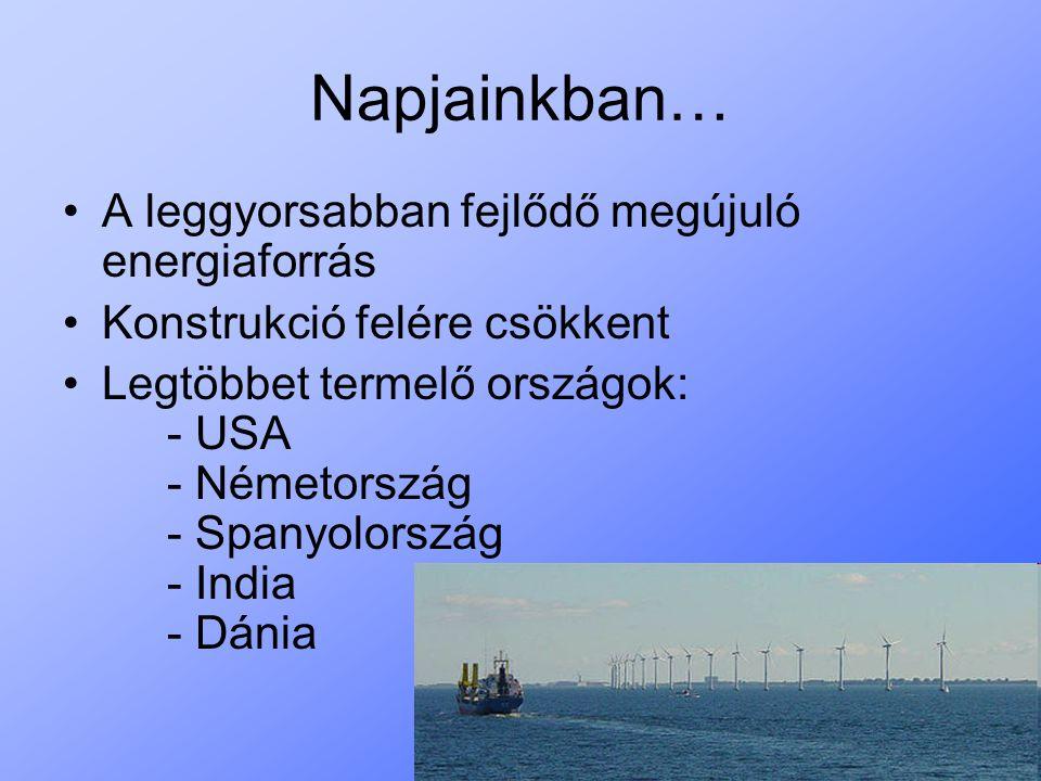 Napjainkban… A leggyorsabban fejlődő megújuló energiaforrás Konstrukció felére csökkent Legtöbbet termelő országok: - USA - Németország - Spanyolorszá