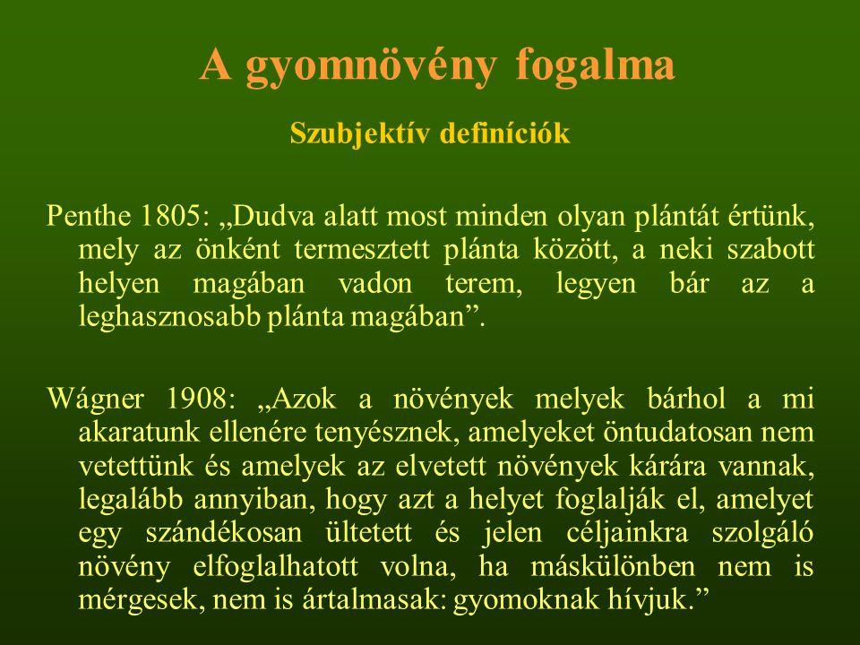 A világ és hazánk 10 legfontosabb gyomnövénye (1973, 1977) szíriai palkaközönséges kakaslábfű csillagpázsitapró szulák közönséges kakaslábfűfehér libatop sáma-kölesfakó muhar aszályfűszőrös disznóparéj fenyércirokmezei aszat alangfűszulák keserűfű vízijácintparlagfű kövér porcsintarló tisztesfű fehér libatophamvas szeder
