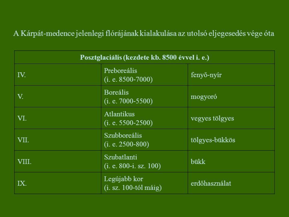 Posztglaciális (kezdete kb. 8500 évvel i. e.) IV. Preboreális (i. e. 8500-7000) fenyő-nyír V. Boreális (i. e. 7000-5500) mogyoró VI. Atlantikus (i. e.